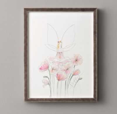"""Flower fairy illustration, Poppy - 15"""" x 19¼"""" - Framed - RH"""