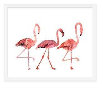 """Michelle Morin, Flamingo Pillow-24"""" x 20""""-framed - One Kings Lane"""
