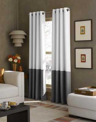 Kendall Color Block Grommet Curtain Panel - curtainworks.com