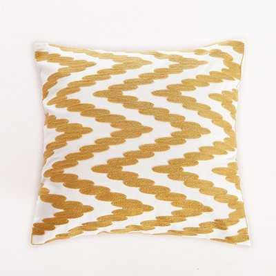 Embroidered Chevron Dot Throw Pillow - Gold, 18x18, With Insert - Wayfair