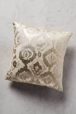 "Metallic Ikat Pillow - 18"" x 18"" - Gold - Poly fill - Anthropologie"
