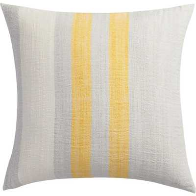"Yellow cotton-bamboo stripes 18"" pillow with down-alternative insert - CB2"