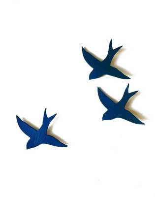 Ceramic Wall Art Swallows in Indigo (Set of 3) - Etsy