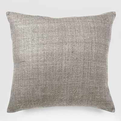 Silk Hand-Loomed Pillow Cover - Platinum - West Elm