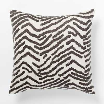 """Tiger Crewel Pillow Cover, 18"""", Slate/Ivory, no insert - West Elm"""
