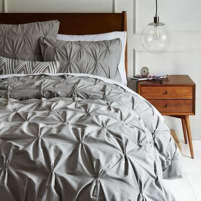Organic Cotton Pintuck Duvet Cover - Full/Queen - Feather Grey - West Elm