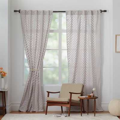 "Sheer Chevron Curtain - Frost Gray - 42""x96"" - West Elm"