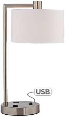 Colby Brushed Nickel Desk Lamp with Outlet and USB Port - Lamps Plus