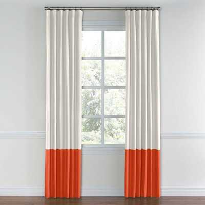 "Ivory & Coral Linen Custom Color Block Drapery - 96"" L X 50"" W - Domino"