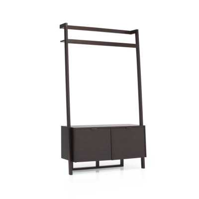 Sawyer Mocha Leaning Media Stand - Crate and Barrel