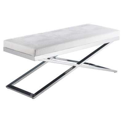 Sunpan Crawford X-Base Indoor Bench - White - Hayneedle