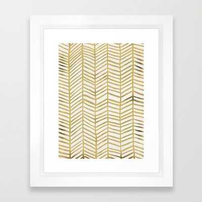"Gold Herringbone - 10"" X 12"" - Framed - Society6"