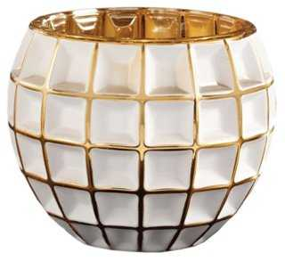 Facet Votive Holder, White/Gold - One Kings Lane