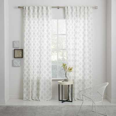 "STEPPED GEO WOVEN CURTAIN, PLATINUM, 48""X108"" - West Elm"