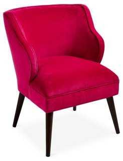 Kira Chair, Fuchsia Velvet - One Kings Lane