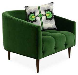 St. Barts Barrel Chair, Emerald Velvet - One Kings Lane