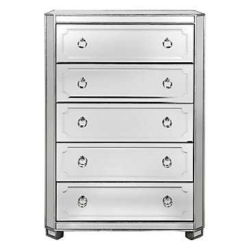 Simplicity Mirrored 5 Drawer Tall Chest - Z Gallerie