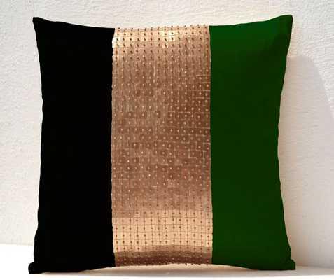 Throw Pillows - Emerald green, black, gold - Etsy