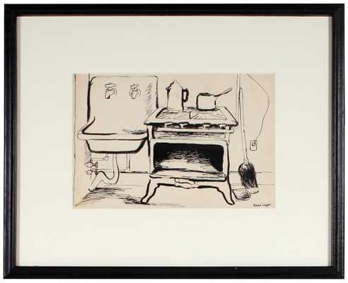 "49796- Martin Snipper, Mid 20th Century, Ink on Paper, 21.75""x17.25"" Framed - store.lostartsalonsale.com"