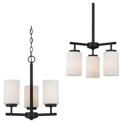Sea Gull Lighting 3-light Blacksmith Finish Chandelier with Satin Etched Glass - Overstock