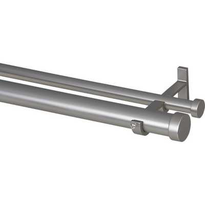 Matte Nickel Double Hanging Curtain Rod Set - Crate and Barrel