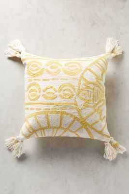 "Rocio Embroidered Pillow, Yellow - 20""x20"" - Polyfill - Anthropologie"