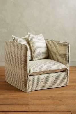 Striped Carlier Slipcover Armchair - Anthropologie