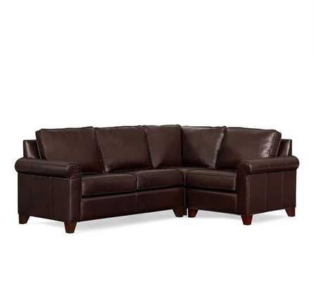 Cameron Roll Arm Leather 3-Piece Sectional with Corner - Pottery Barn