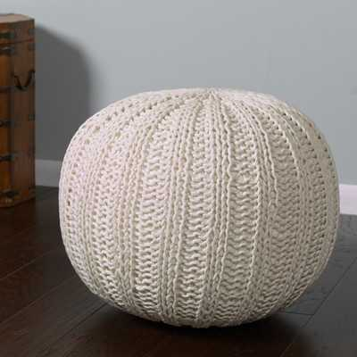Hand Knitted Traditional Pouf Ottomanby Bungalow Rose - Wayfair