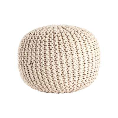 Saro Cotton Twisted Rope Pouf Ottoman-Vanilla - Wayfair