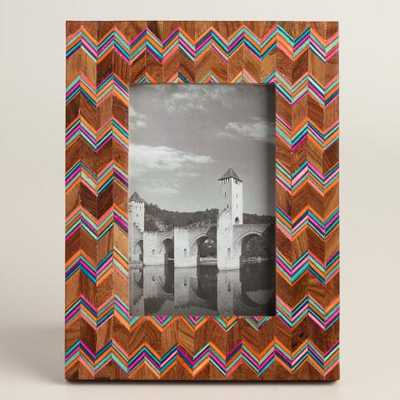 Wood Frame with Chevron Bone Inlay - World Market/Cost Plus