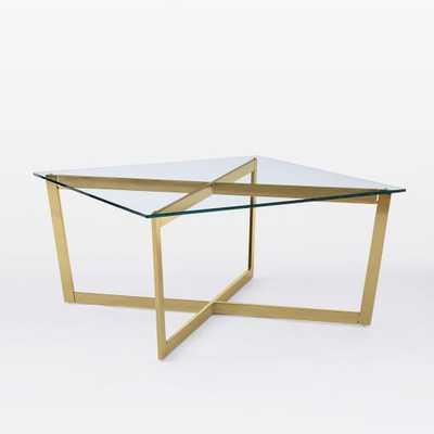 Cross-Base Coffee Table, Glass/Antique Brass - West Elm