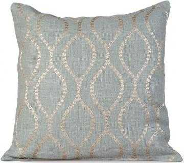 ESME EMBROIDERED BURLAP PILLOW - Charlotte Blue, 20x20, With Insert - Home Decorators