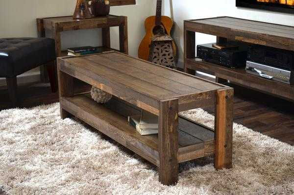 RECLAIMED COFFEE TABLE - PRESEARTH SPICE - woodwaves.com