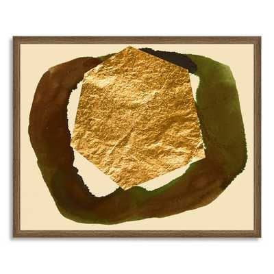 The Arts Capsule Ink Print - Abstract Earth-Olive + Gold-Framed - West Elm