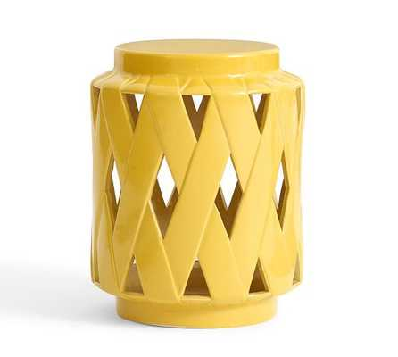 Lattice Ceramic Accent Table - Yellow - Pottery Barn