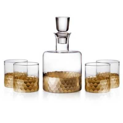 Fitz and Floyd® Daphne 5-Piece Small Whiskey Decanter Set in Gold - Bed Bath & Beyond