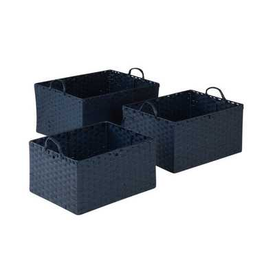 3pc Set Paper Rope Basket, Blu - Overstock