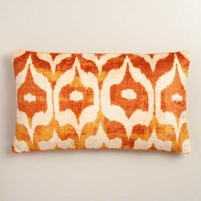 Oversized Orange Ikat Velvet Taza Lumbar Pillow - World Market/Cost Plus