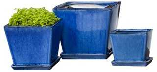 Asst. of 3 Darcy Planters, Blue - One Kings Lane