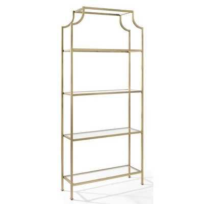 Crosley Aimee Glass Bookcase in Antique Gold - cymax.com