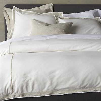 Bianca White/Natural Full-Queen Duvet Cover - Crate and Barrel