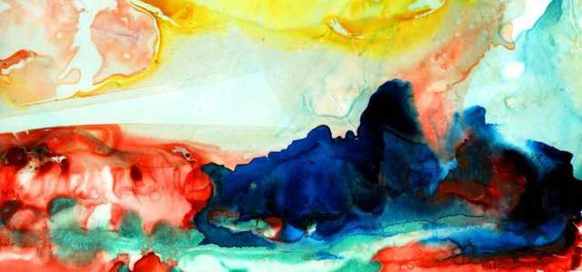 "Original Watercolor Canvas-42""x90""-Unframed - Domino"