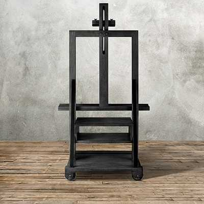 CATLIN EASEL MEDIA STAND IN WEATHERED BLACK - Arhaus