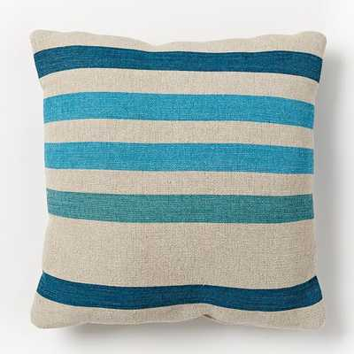 "Outdoor Prep Stripe Pillow - Bright Turquoise - 18""sq. - Polyester Insert - West Elm"