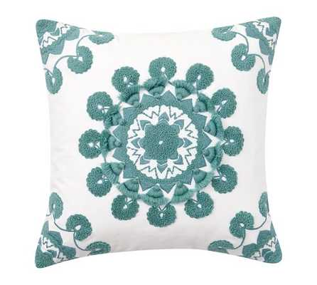 """Pom Pom Medallion Embroidered Pillow Cover - Aqua - 20"""" square - Insert Sold Separately - Pottery Barn"""