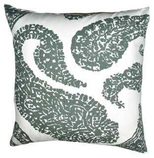 Paisley 20x20 Cotton Pillow, Gray- Down/feather insert - One Kings Lane