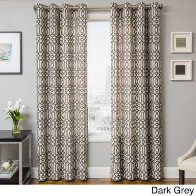 "Kaili Faux Linen Grommet Top Curtain Panel - 84""l x 55""w - Overstock"