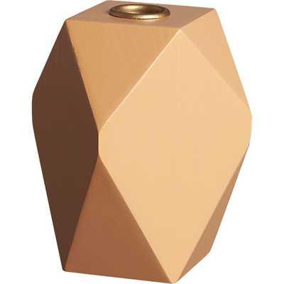 Pomona wood peach taper candle holder - CB2