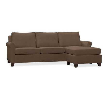 CAMERON ROLL ARM UPHOLSTERED 2-PIECE REVERSIBLE CHAISE SECTIONAL - Vintage Velvet, Cafe - Pottery Barn